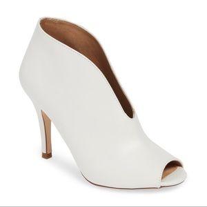 Halogen Rowan Peep Toe White High Heel Bootie 8M